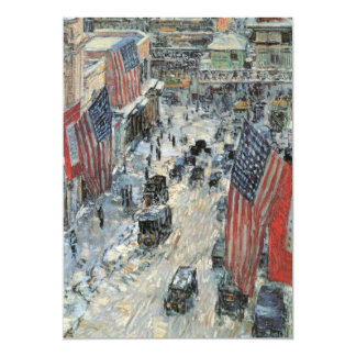 Flags on 57th Street, Hassam Vintage Impressionism 5x7 Paper Invitation Card