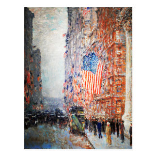 """""""Flags on the Waldorf"""" by Childe Hassam Postcards"""