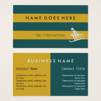"""""""Flags"""" Ski Instructor Business Cards"""