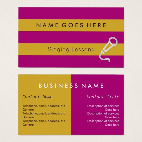 """""""Flags"""" Vocal Coach Business Cards"""
