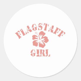 Flagstaff Pink Girl Round Sticker