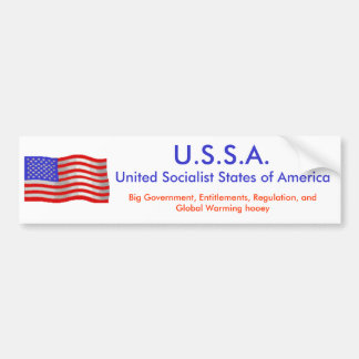 flagwave1, U.S.S.A., United Socialist States of... Bumper Sticker