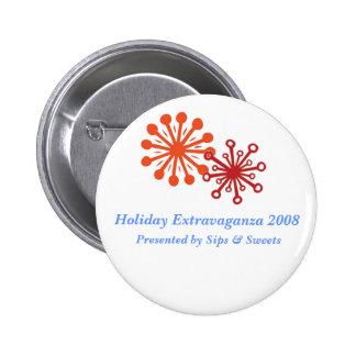 flake, flake1, Holiday Extravaganza 2008, Prese... 6 Cm Round Badge