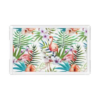 Flamboyant Flamingo Tropical nature garden pattern Acrylic Tray