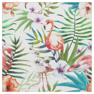 Flamboyant Flamingo Tropical nature garden pattern Fabric