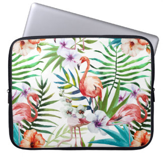 Flamboyant Flamingo Tropical nature garden pattern Laptop Sleeve