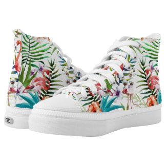 Flamboyant Flamingo Tropical nature garden pattern Printed Shoes