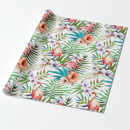 Flamboyant Flamingo Tropical nature garden pattern Wrapping Paper