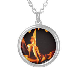 Flame 2 silver plated necklace