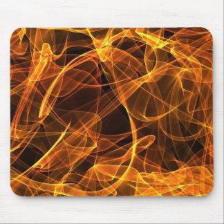 flame art orange mouse pad