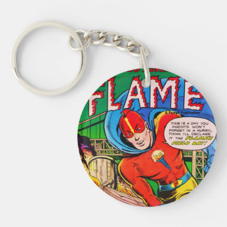 Flame comics Double-Sided round acrylic key ring