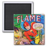 Flame comics square magnet