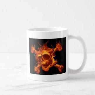 Flame fire skull basic white mug