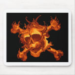 Flame fire skull mouse pad