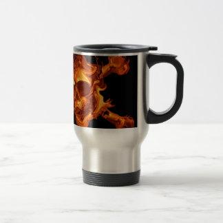 Flame fire skull stainless steel travel mug
