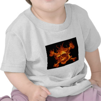 Flame fire skull tee shirts