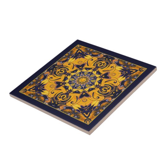 Flame Heart Blue and Gold Ceramic Art Tile