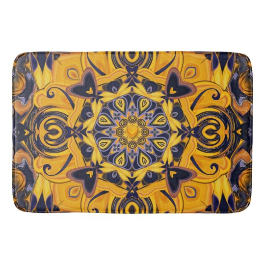 Flame Hearts Blue and Gold Bath Mat