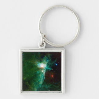 Flame Nebula NASA Space Silver-Colored Square Key Ring