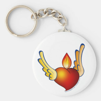 Flame of Love Basic Round Button Key Ring