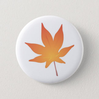 Flame Orange Leaf 6 Cm Round Badge