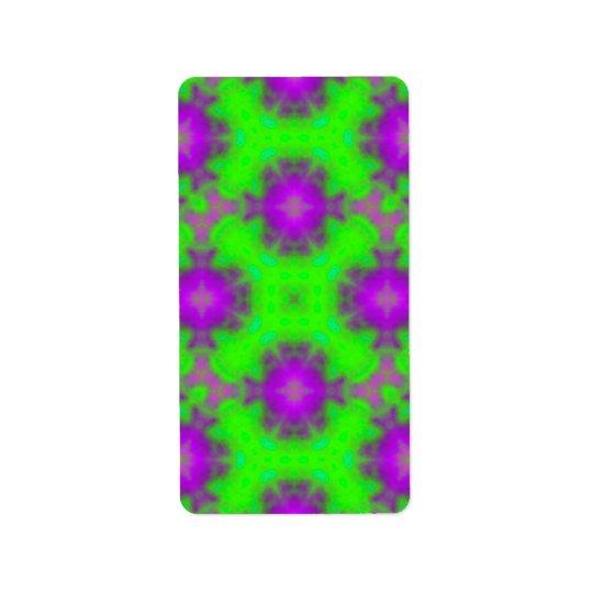 flame pattern green purple label