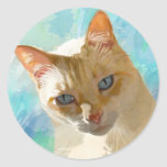 Flame Point Siamese Cat Greeting Cards Round Sticker