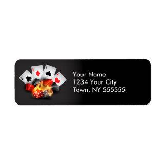 Flame Poker Casino Black Return Address Label