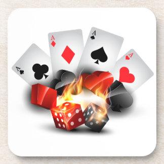Flame Poker Casino White Coaster