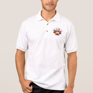 Flame Poker Casino White Polo T-shirt