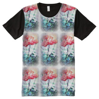 Flame Roses Pattern All-Over Print T-Shirt