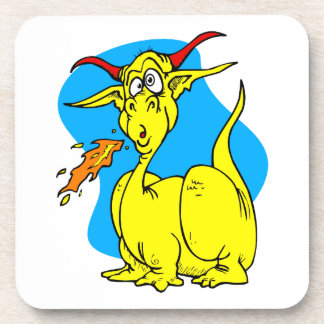 Flame Sneezer Yellow Dragon png Drink Coaster