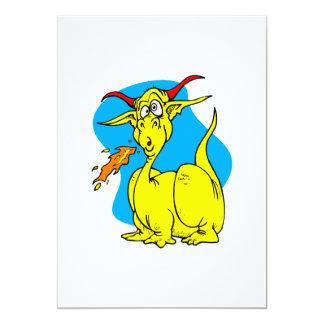 "Flame Sneezer Yellow Dragon.png 5"" X 7"" Invitation Card"