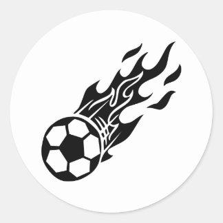 Flame Soccer Ball Round Sticker