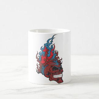 Flamed Fire Tattoo Skull Basic White Mug