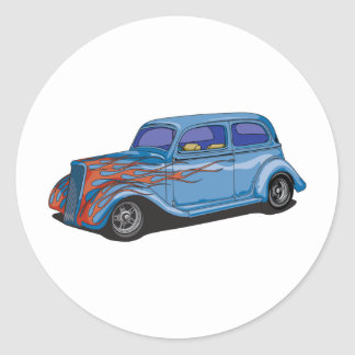 Flamed Hot Rod Classic Round Sticker