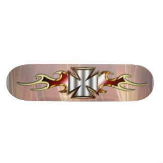 Flamed Maltese Cross Skate Deck