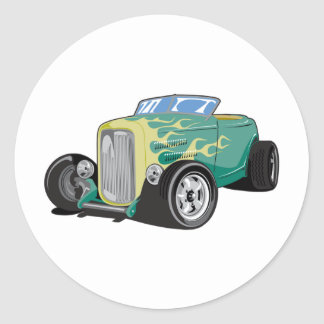 Flamed Roadster Classic Round Sticker