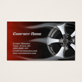 Flamed Tire Rim Auto Repair Service Red Card