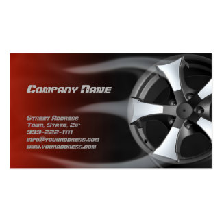 Flamed Tire Rim Auto Repair Service Red Card Pack Of Standard Business Cards