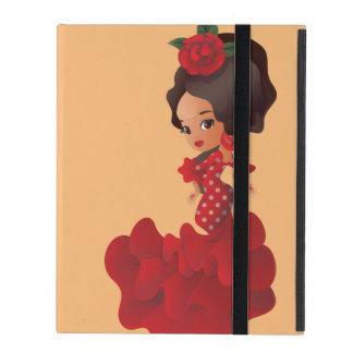 Flamenco cartoon chibi kawaii girl iPad folio case