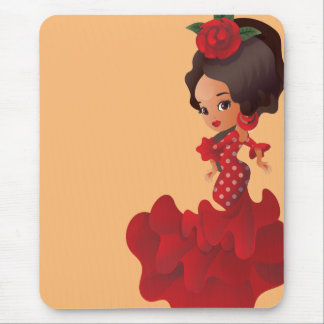 Flamenco cartoon chibi kawaii girl mouse pad