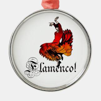 Flamenco Dancer Silver-Colored Round Decoration