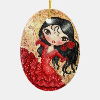 """""""Flamenco Dancer"""" Ceramic Oval Decoration"""