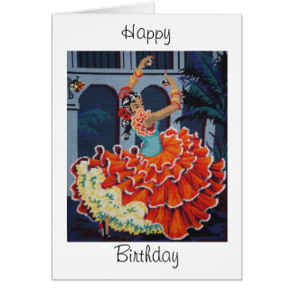 Flamenco Dancer  Happy Birthday Card