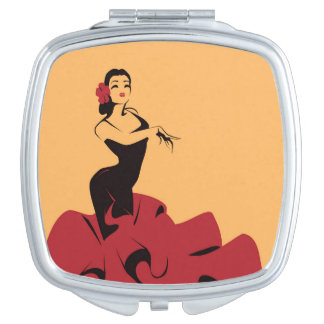 flamenco dancer in a spectacular pose travel mirror