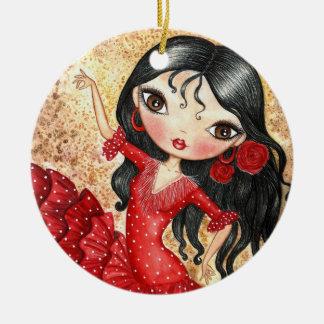 """Flamenco Dancer"" Round Ceramic Decoration"