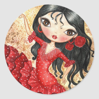 """Flamenco Dancer"" Round Sticker"
