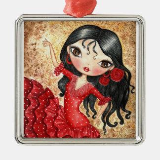 """""""Flamenco Dancer"""" Silver-Colored Square Decoration"""