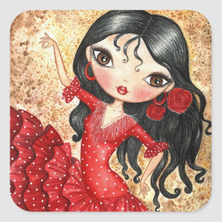 """Flamenco Dancer"" Square Sticker"